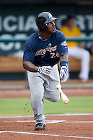 Angel Salome (26) of the Huntsville Stars hustles down the first base line at the Baseball Grounds in Jacksonville, FL, Wednesday June 11, 2008.