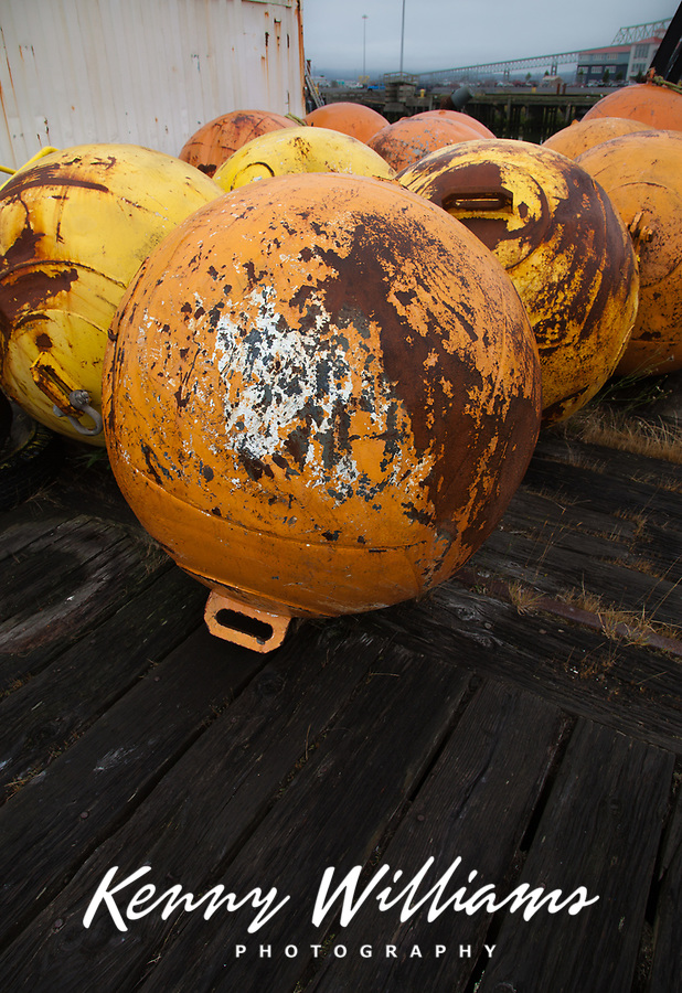 Colored Buoys, Metal Anchored Floats, Marine Navigation Marks, Port of Astoria, Oregon