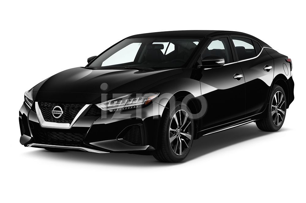 2019 Nissan Maxima SV 4 Door Sedan Angular Front stock photos of front three quarter view