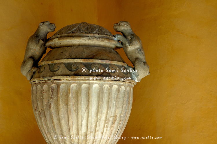 Sculpted vase decorating the Patio del Crucero in the Alcazar of Seville, Seville, Andalusia, Spain.