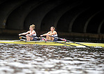 (Cambridge Ma 101913) Ericka Parisi and Stephanie Geihe, of the Union Boat Club in Boston, during the  Women's Championship Doubles, during the 2013 Head of the Charles Regatta, Saturday on the Charles River in Cambridge. (Jim Michaud Photo) For Sunday