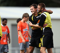 Wellington's Chris Davies and Greg Draper celebrate the win..NZFC soccer  - Team Wellington v Waikato FC at Newtown Park, Wellington. Sunday, 20 December 2009. Photo: Dave Lintott/lintottphoto.co.nz