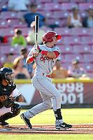 Seth Spivey #11 of the Spokane Indians bats against the Salem-Keizer Volcanoes at Volcanoes Stadium on July 26, 2014 in Keizer, Oregon. Spokane defeated Salem-Keizer, 4-1. (Larry Goren/Four Seam Images)