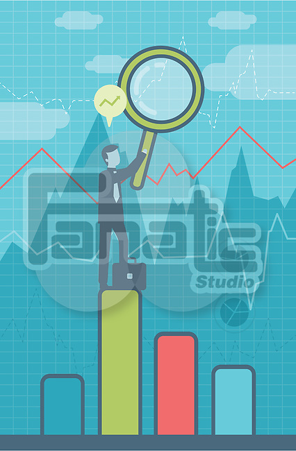 Illustrative image of businessman with magnifying glass standing on bar graph representing forecasting