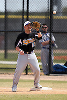 March 15, 2010:  First Baseman Josh Kraemer of the Fontbonne University Griffins in a game vs. Roger Williams University Hawks at Lake Myrtle Park in Auburndale, FL.  Photo By Mike Janes/Four Seam Images