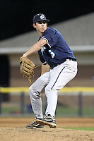 Newark Pilots, of the Perfect Game Collegiate Baseball League, pitcher Sean Simonz #16 during an exhibition game against the Batavia Muckdogs at Dwyer Stadium on June 15, 2012 in Batavia, New York.  Batavia defeated Newark 8-0.  (Mike Janes/Four Seam Images)