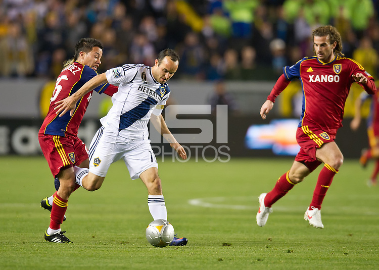 CARSON, CA - March 10,2012: LA Galaxy midfielder Landon Donovan (10) against Real Salt Lake at the Home Depot Center in Carson, California. Final score LA Galaxy 1, Real Salt Lake 3.