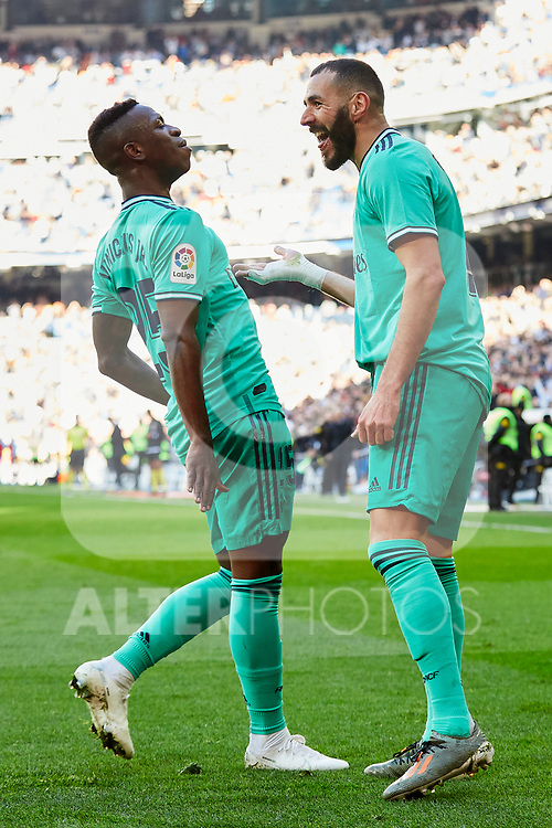 Vinicius Junior (L) and Karim Benzema (R) of Real Madrid celebrate goal during La Liga match between Real Madrid and RCD Espanyol at Santiago Bernabeu Stadium in Madrid, Spain. December 07, 2019. (ALTERPHOTOS/A. Perez Meca)