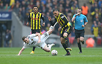 Watford's Jose Holebas challenges Wolverhampton Wanderers' Diogo Jota<br /> <br /> Photographer Rob Newell/CameraSport<br /> <br /> Emirates FA Cup Semi-Final  - Watford v Wolverhampton Wanderers - Sunday 7th April 2019 - Wembley Stadium - London<br />  <br /> World Copyright © 2019 CameraSport. All rights reserved. 43 Linden Ave. Countesthorpe. Leicester. England. LE8 5PG - Tel: +44 (0) 116 277 4147 - admin@camerasport.com - www.camerasport.com