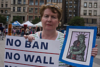 NEW YORK, NY - JUNE 29: Immigrants join activists for an evening protest in Manhattan hours before a revised version of President Donald Trump's travel ban that was approved by the Supreme Court is to take effect on June 29, 2017 in New York City. Protesters marched demanding and end to the ban which prohibits for 90 days the entry of travelers from six predominantly Muslim countries: Iran, Libya, Somalia, Sudan, Syria and Yemen. (Photo by Joana Toro/VIEWPress/Corbis via Getty Images)
