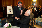 May 22, 2013; Emeritus Rev. Theodore M. Hesburgh, C.S.C., blesses  Indiana U.S. Senator, Joe Donnelly, during a special reception celebrating Hesburgh's 96th birthday in the Rayburn Room of the U.S. Capitol. The reception was also held to a honor his 70th anniversary as a priest of the Congregation of Holy Cross. Photo by Barbara Johnston/University of Notre Dame
