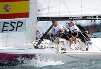 11.08.2012. Weymouth, Dorset, England.  The Spanish team Compete in the Elliott 6m  Competition of sailing Event London 2012 Olympic Games The Spanish team Won Gold Medal
