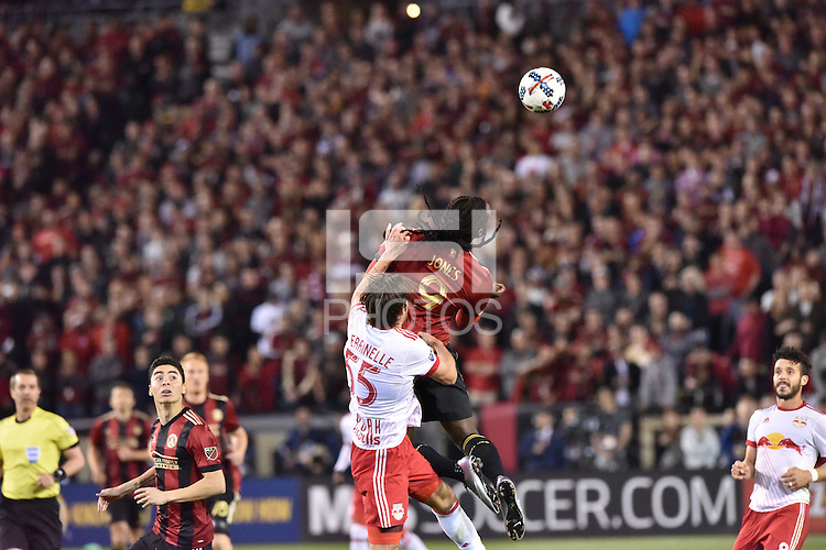 Atlanta, Georgia - Sunday, March 5, 2017: New MLS franchise, Atlanta United, played its inaugural match in front of a sold out crowd of over 55,000, at Bobby Dodd Stadium on the campus of Georgia Tech. New York Red Bulls came from behind to win the match, 2-1.