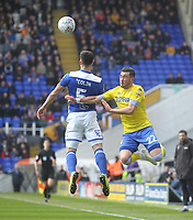 Leeds United's Jack Harrison  jumps with Birmingham City's Maxime Colin<br /> <br /> Photographer Mick Walker/CameraSport<br /> <br /> The EFL Sky Bet Championship - Birmingham City v Leeds United - Saturday 6th April 2019 - St Andrew's - Birmingham<br /> <br /> World Copyright © 2019 CameraSport. All rights reserved. 43 Linden Ave. Countesthorpe. Leicester. England. LE8 5PG - Tel: +44 (0) 116 277 4147 - admin@camerasport.com - www.camerasport.com