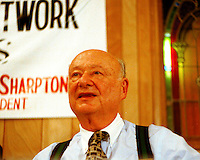 Former Mayor Edward I.  Koch at the National Action Network meeting with former NJ Senator and Presidential candidate Bill Bradley on August 23, 1999. Mayor Koch has indicated that he is interested in running against Democratic Assembly Speaker Sheldon Silver because Silver voted for repealing the NYC Commuter Tax. (© Richard B. Levine)