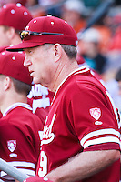 AUSTIN, TEXAS-March 6, 2011:  Head Coach Mark Marquess of Stanford observes  the opponent's pitching change during the game against the Texas Longhorns, at Disch-Falk field in Austin, Texas.  Texas defeated Stanford 4-2.