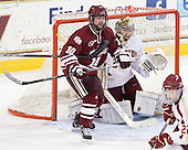 Eric Filiou (UMass - 10), Brian Billett (BC - 1) - The Boston College Eagles defeated the University of Massachusetts-Amherst Minutemen 3-2 to take their Hockey East Quarterfinal matchup in two games on Saturday, March 10, 2012, at Kelley Rink in Conte Forum in Chestnut Hill, Massachusetts.