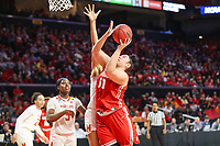 College Park, MD - March 23, 2019: Radford Highlanders center Sydney Nunley (50) shoots the ball during game between Radford and Maryland at  Xfinity Center in College Park, MD.  (Photo by Elliott Brown/Media Images International)