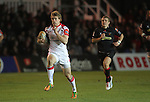 Ulster wing Andrew Trimble breaks away to score under the posts..Celtic League.Newport Gwent Dragons v Ulster.Rodney Parade.26.10.12.©Steve Pope