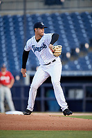 Tampa Tarpons starting pitcher Freicer Perez (37) delivers a pitch during a game against the Fort Myers Miracle on May 2, 2018 at George M. Steinbrenner Field in Tampa, Florida.  Fort Myers defeated Tampa Tarpons 5-0.  (Mike Janes/Four Seam Images)