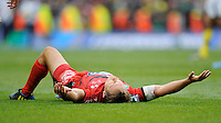 Jonny Wilkinson of RC Toulon collapses in delight at the final whistle of the Heineken Cup Final between ASM Clermont Auvergne and RC Toulon at the Aviva Stadium, Dublin on Saturday 18th May 2013 (Photo by Rob Munro)