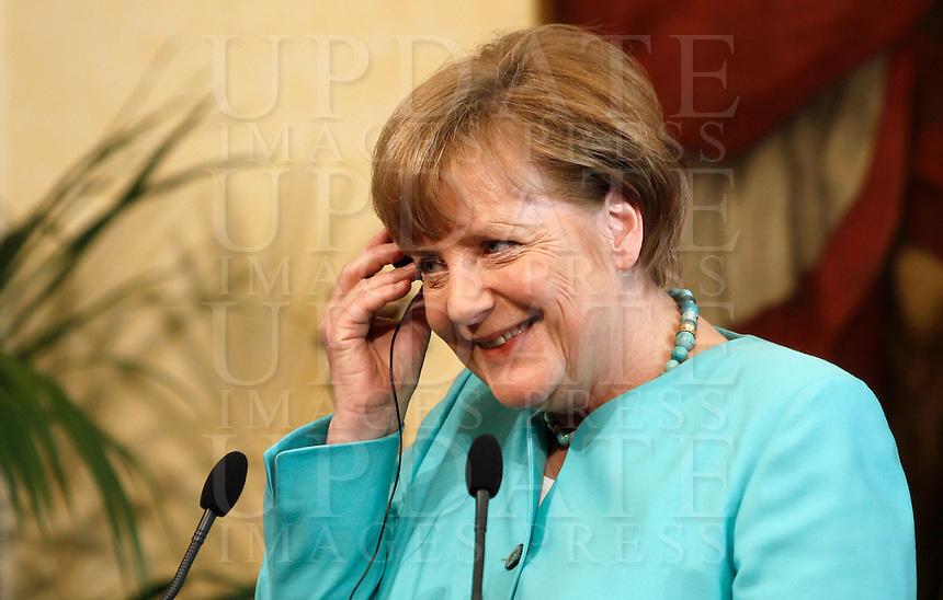 Il cancelliere tedesco Angela Merkel a Palazzo Chigi, Roma, 5 maggio 2016.<br /> German Chancellor Angela Merkel at Chigi Palace, Rome, 5 May 2016.<br /> UPDATE IMAGES PRESS/Isabella Bonotto