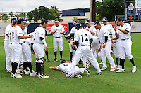 16 May 2010:  FIU's seniors take turns sliding into the team huddle prior to the game.  The FIU Golden Panthers defeated the University of South Alabama Jaguars, 5-0, at University Park Stadium in Miami, Florida.