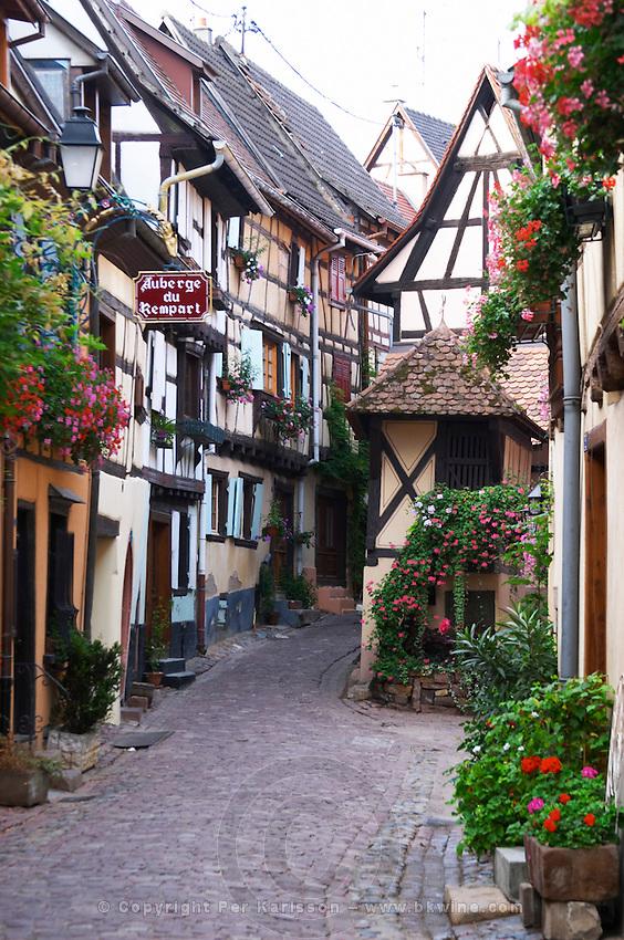 a narrow street eguisheim alsace france