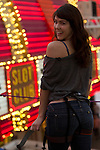 Miss October Claire Sinclair and Alicia Jacobs ride the Zip Line on Fremont Street
