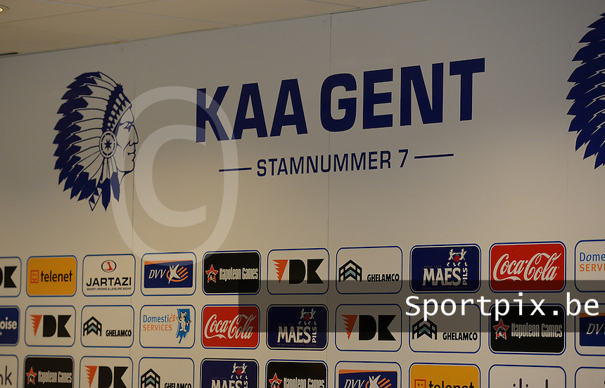 20150821 - GENT, BELGIUM: Gent's  boarding pictured during a press conference about the start of the new Super League season of the women's team KAA Gent Ladies , Friday 21 August 2015 , in Gent. PHOTO DAVID CATRY