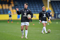 Adam Hastings of Bath Rugby looks on during the pre-match warm-up. Aviva Premiership match, between Worcester Warriors and Bath Rugby on February 13, 2016 at Sixways Stadium in Worcester, England. Photo by: Patrick Khachfe / Onside Images