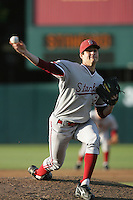 Mark Appel of the Stanford Cardinal pitches against the USC Trojans at Dedeaux Field in Los Angeles,California on April 8, 2011. Photo by Larry Goren/Four Seam Images