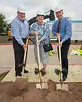 Alan Summers poses for a photograph with his parents during a groundbreaking ceremony for new Sam Houston Math, Science and Technology Center School, March 24, 2017.