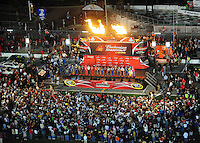 Feb 9, 2008; Daytona, FL, USA; The field of Nascar Sprint Cup Series drivers are introduced prior to the Bud Shootout at Daytona International Speedway. Mandatory Credit: Mark J. Rebilas-US PRESSWIRE
