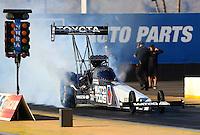 Feb 3, 2016; Chandler, AZ, USA; NHRA top fuel driver Antron Brown during pre season testing at Wild Horse Pass Motorsports Park. Mandatory Credit: Mark J. Rebilas-USA TODAY Sports