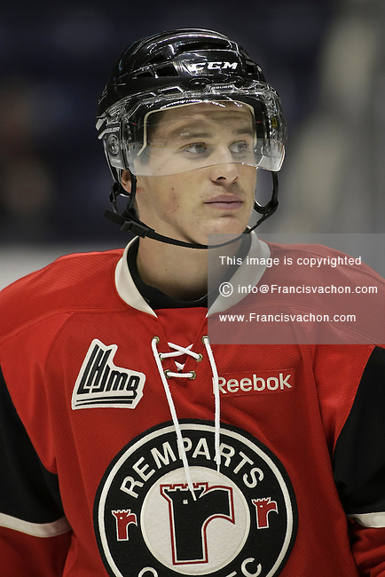 QMJHL (LHJMQ) hockey profile photo on Quebec Remparts Jason Houde September 30, 2012 at the Colisee Pepsi in Quebec city.