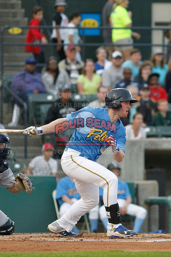 Myrtle Beach Pelicans outfielder Billy McKinney (20) at bat during a game against the Wilmington Blue Rocks at Ticketreturn.com Field at Pelicans Ballpark on April 10, 2015 in Myrtle Beach, South Carolina.  Wilmington defeated Myrtle Beach 8-3. (Robert Gurganus/Four Seam Images)