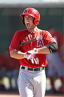 Los Angeles Angels minor league outfielder Randal Grichuk #66 during an instructional league game against the Arizona Diamondbacks at the Tempe Diablo Minor League Complex on October 1, 2012 in Tempe, Arizona.  (Mike Janes/Four Seam Images)