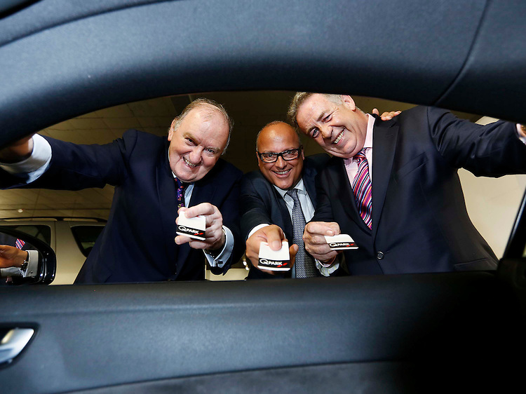 No Repro Fee..George Hook (left) with Ward Vleugels, CEO and Founder of Q-Park  and Ray Peers, Managing Director of Q-Park Ireland (right), pictured at the 10 years in Ireland celebrations of Q-Park with the re-launch of their flagship facility at Q-Park Setanta Place on Molesworth Street, Dublin 2. .Pic: Robbie Reynolds/CPR.