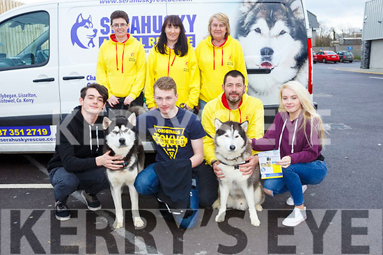 At the  Horgans Centra Ardfert Family Fun day on Sunday were the Sera Husky & Animal Rescue Charity. Pictured front l-r Sean Casey, Shane Duggan, Maurice Enright, Emma Ford , Breda Ahern, Jane Geary, Joyce Bowerman with Atchi and Axel