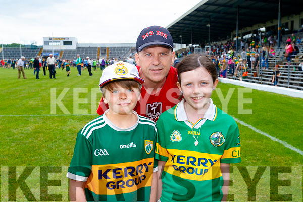 Mark Farrell, David Farrell and Grace Farrell, Camp, pictured at the Kerry v Clare Munster semi-final at Fitzgerald Stadium, Killarney on Sunday last.