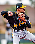 5 March 2019: Pittsburgh Pirates minor league Position Player Angel Basabe works on infield drills at Pirate City in Bradenton, Florida. Mandatory Credit: Ed Wolfstein Photo *** RAW (NEF) Image File Available ***