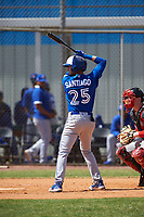 Toronto Blue Jays Glenn Santiago (25) bats during an exhibition game against the Canada Junior National Team on March 8, 2020 at Baseball City in St. Petersburg, Florida.  (Mike Janes/Four Seam Images)