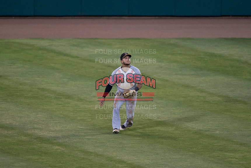 Salt Lake Bees center fielder Michael Hermosillo (6) prepares to catch a fly ball during a Pacific Coast League game against the Fresno Grizzlies at Chukchansi Park on May 14, 2018 in Fresno, California. Fresno defeated Salt Lake 4-3. (Zachary Lucy/Four Seam Images)