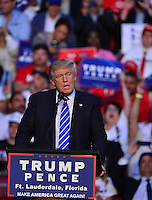 SUNRISE, FL - AUGUST 10: Republican presidential candidate Donald J.Trump addresses the audience during a campaign event at BB&T Center on Wednesday August 10, 2016 in Sunrise, Florida Mpi10 / MediaPunch