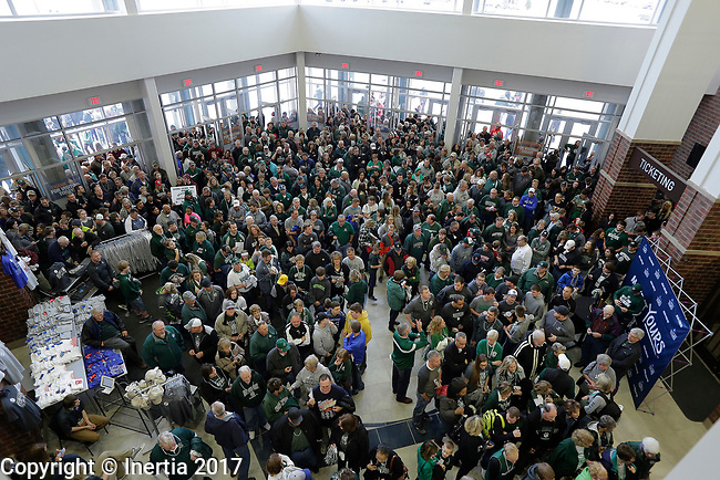 SIOUX FALLS, SD: MARCH 25: Fans pour into the Sanford Pentagon for the NCAA Men's Division II Basketball Championship game between Northwest Missouri State and Fairmont State University on March 25, 2017 in Sioux Falls, S.D. (Photo by Dick Carlson/Inertia)