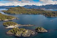 Islands in Sitka Sound, along the coast of Baranof Island, Southeast, Alaska.