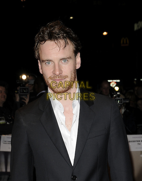 "MICHAEL FASSBENDER .The ""Hunger"" UK premiere, London Film FEstival, Day 5, Odeon West End, London, England..October 19th, 2008.LFF half length black suit jacket stubble facial hair .CAP/CAN.©Can Nguyen/Capital Pictures."