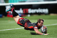 Rhodri Williams of the Dragons dives for the try-line in the first half. Pre-season friendly match, between Ealing Trailfinders and the Dragons on August 11, 2018 at the Trailfinders Sports Ground in London, England. Photo by: Patrick Khachfe / Onside Images