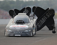 Aug 17, 2018; Brainerd, MN, USA; NHRA funny car driver Del Worsham during qualifying for the Lucas Oil Nationals at Brainerd International Raceway. Mandatory Credit: Mark J. Rebilas-USA TODAY Sports